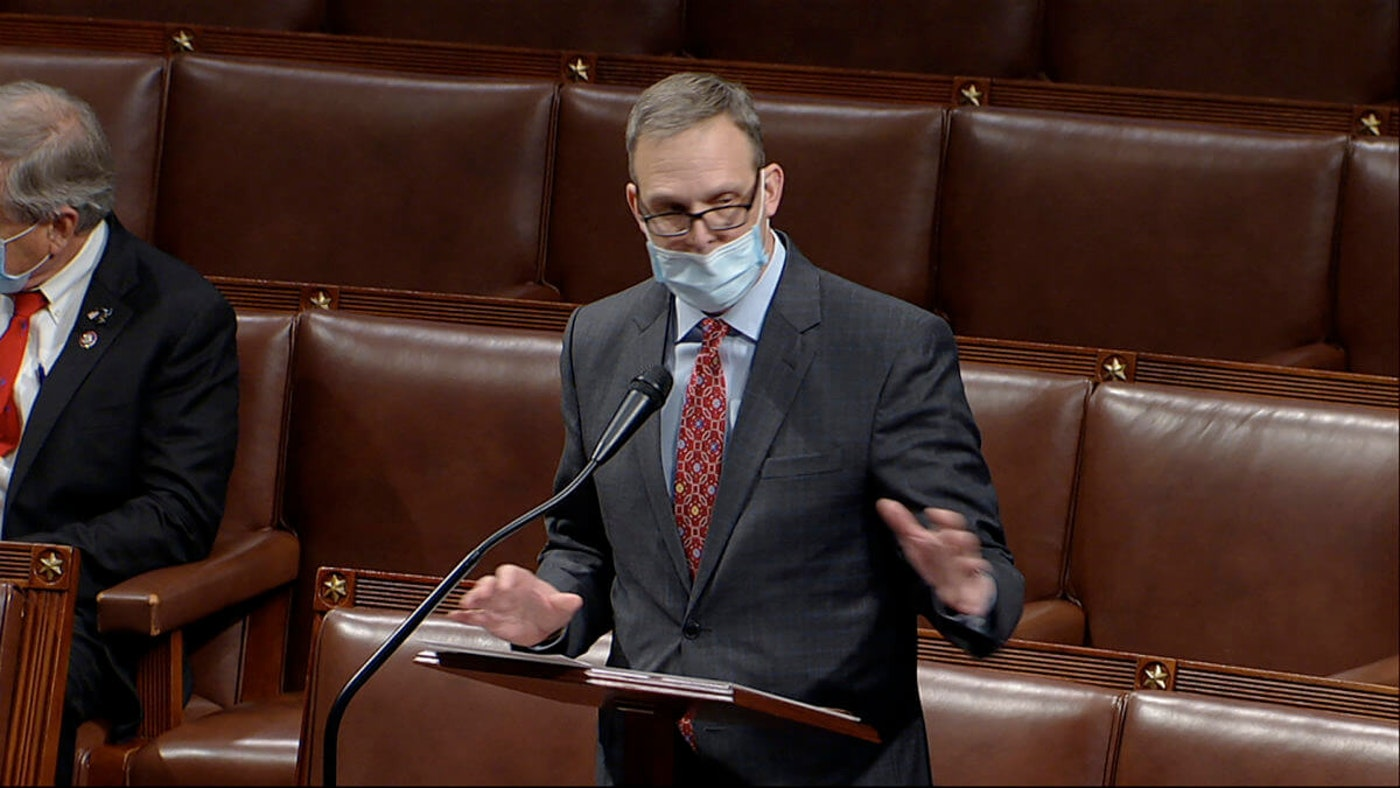 In this image from video, Rep. Scott Perry, R-Pa., speaks as the House debates the objection to confirm the Electoral College vote from Pennsylvania, at the U.S. Capitol early Thursday, Jan. 7, 2021. (House Television via AP)