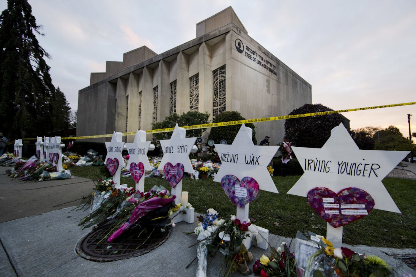 In this 2018 file photo, a makeshift memorial stands outside the Tree of Life Synagogue in the aftermath of a deadly shooting in Pittsburgh. (AP Photo/Matt Rourke, File)