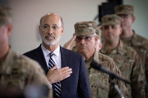 Gov. Tom Wolf participates in a send-off ceremony on Sept. 5, 2019, in Annville, Lebanon County, as they prepare to mobilize for deployment to the Middle East. (Flickr/Office of Gov. Tom Wolf)
