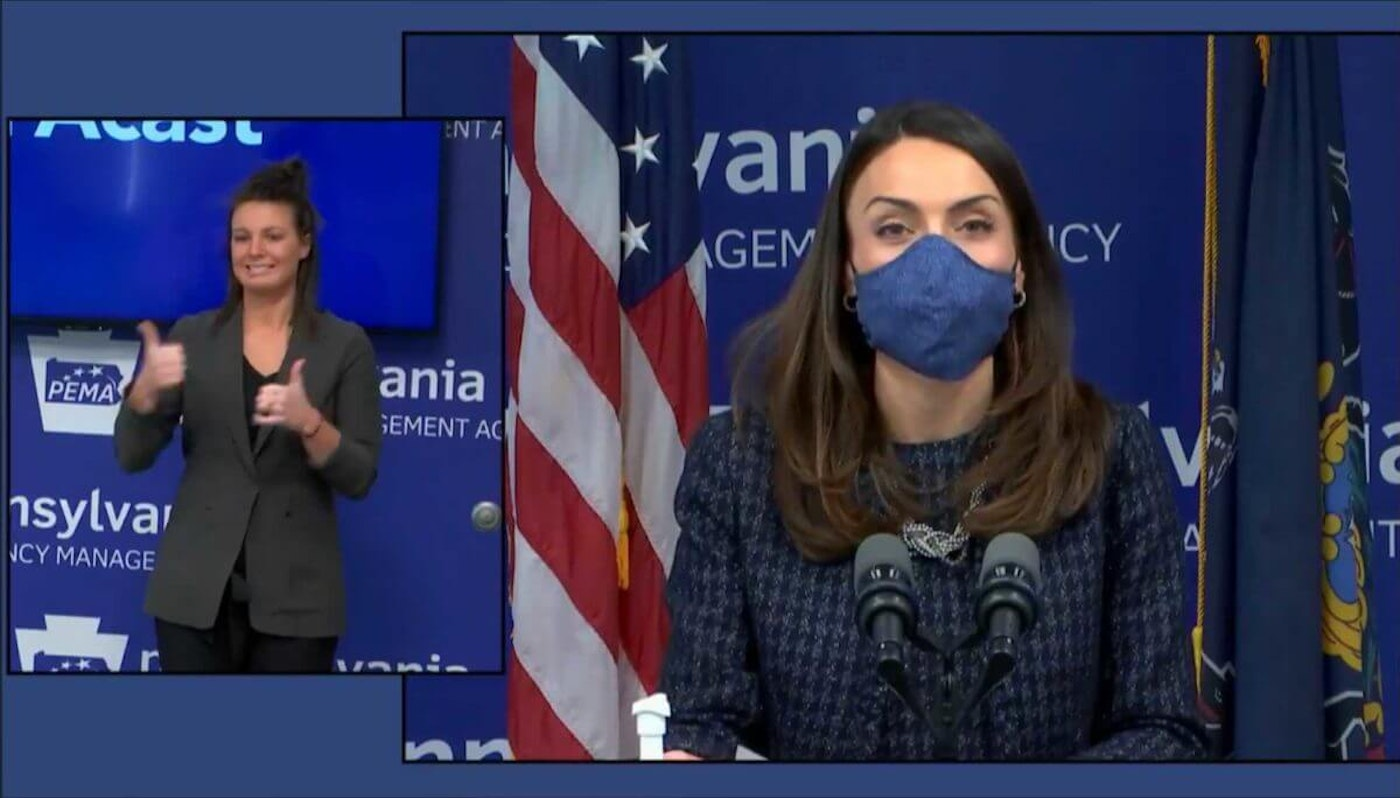 Acting state Secretary of Health Alison Beam speaks during a news conference on Wednesday, Feb. 17, 2021. (Screenshot)