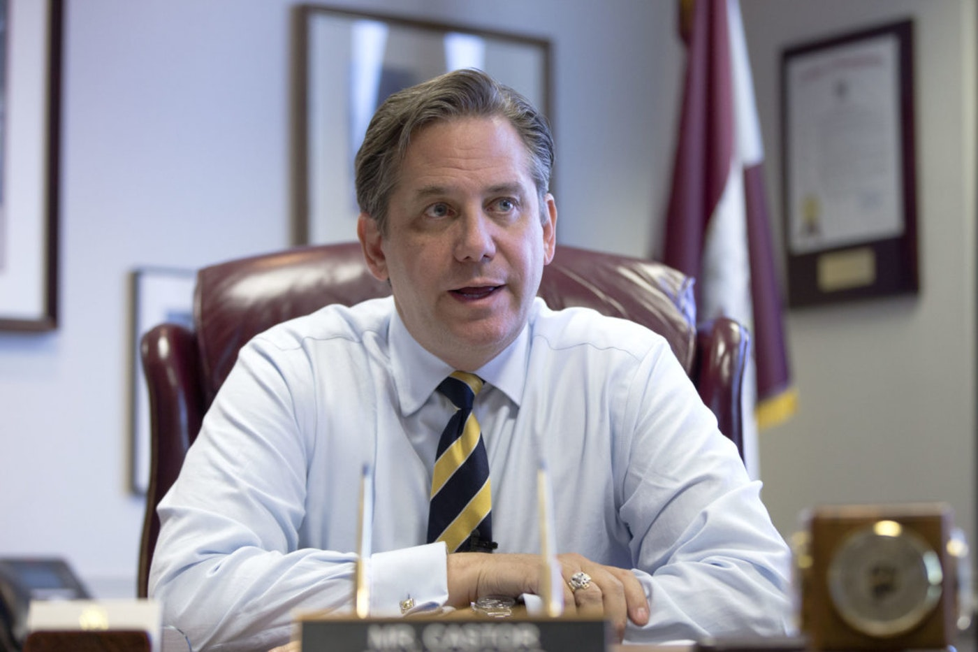 Bruce Castor, a former Montgomery County District Attorney and Commissioner, speaks during an interview with The Associated Press in 2014, in Norristown, Montgomery County. (AP Photo/Matt Rourke)