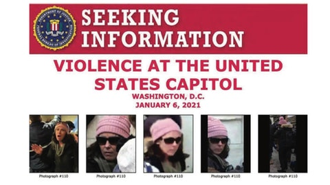 The criminal complaint issued against Rachel Marie Powell included these images of a woman in a pink hat at the Capitol on Jan. 6