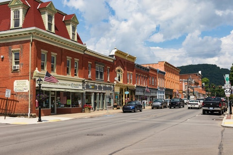 Downtown Coudersport in Potter County. The county is one of those that are struggling with their vaccination numbers.  (Shutterstock Photo/Nolichuckyjake)