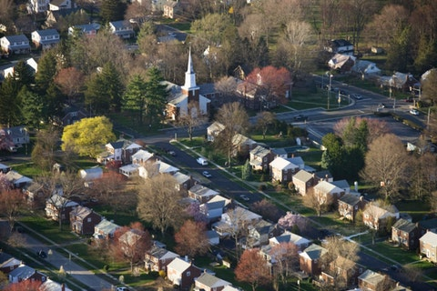 An aerial view shows  houses in suburban Philadelphia. (Getty Images)