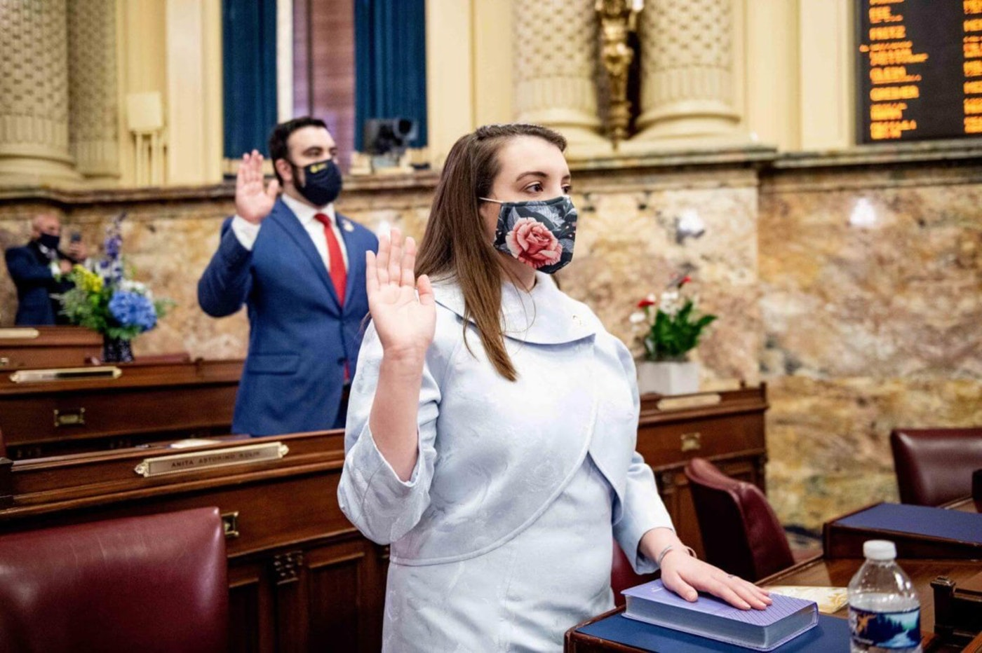 State Rep. Jessica Benham is sworn in on Jan. 5, 2021. Benham is the first openly queer woman and openly autistic person elected to the state Legislature. (Courtesy of Pennsylvania House of Representatives)