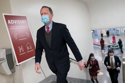 Sen. Pat Toomey, R-Pa., arrives for votes on President Joe Biden's cabinet nominees, at the Capitol in Washington, Thursday, Feb. 25, 2021. (AP Photo/J. Scott Applewhite)