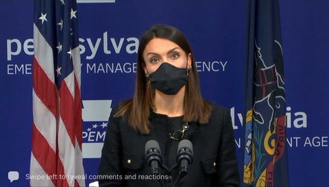 "Acting state Secretary of Health Alison Beam speaks during a news conference on Tuesday, April 13, 2021. She said that the pause in administering the Johnson & Johnson vaccine is ""out of an abundance of caution."" (Screenshot)"