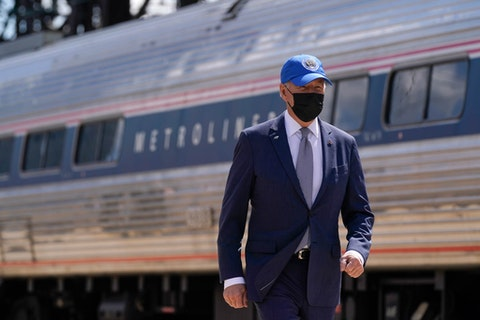 President Joe Biden arrives to speak at an event to mark Amtrak's 50th anniversary at 30th Street Station in Philadelphia, Friday, April 30. (AP Photo/Patrick Semansky)