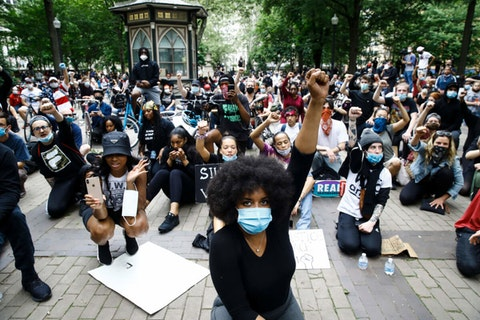 In this Tuesday, June 2, 2020 file photo, demonstrators chant, at Rittenhouse Square in Philadelphia, during a protest over the death of George Floyd, who was killed May 25 by Minneapolis police (AP Photo/Matt Rourke)