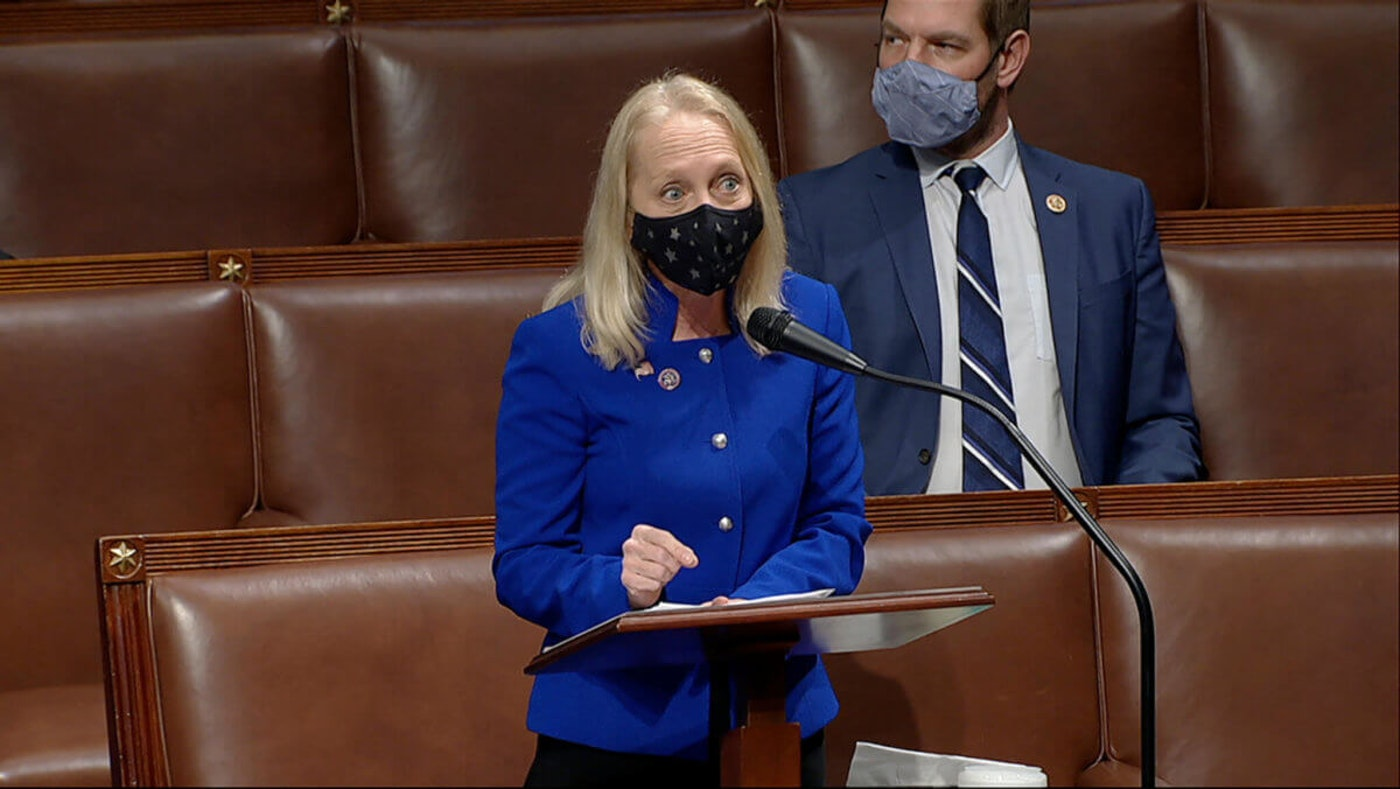 US Rep. Mary Gay Scanlon, D-Pa., seen here speaking from the House chamber earlier this year, is one of ten members of the US House of Representatives from Pennsylvania who voted for the bill. (House Television via AP)