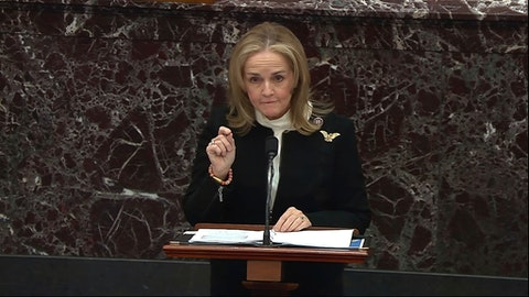 In this image from video, Rep. Madeleine Dean, D-Pa., speaks during the second impeachment trial of former President Donald Trump in the Senate at the U.S. Capitol in Washington, Wednesday, Feb. 10, 2021. (Senate Television via AP)