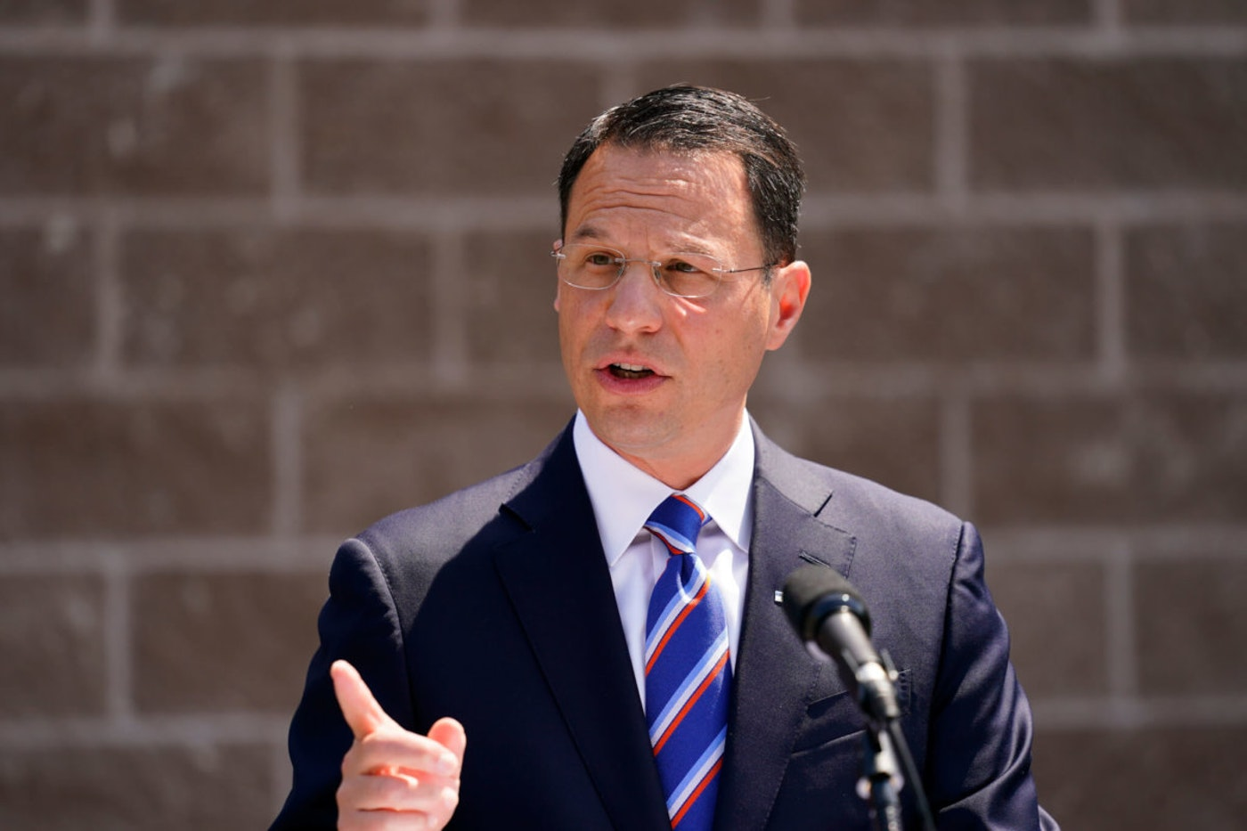 Pennsylvania Attorney General Josh Shapiro speaks with members of the media during a news conference in Darby, Pa., Wednesday, June 2, 2021.  (AP Photo/Matt Rourke)