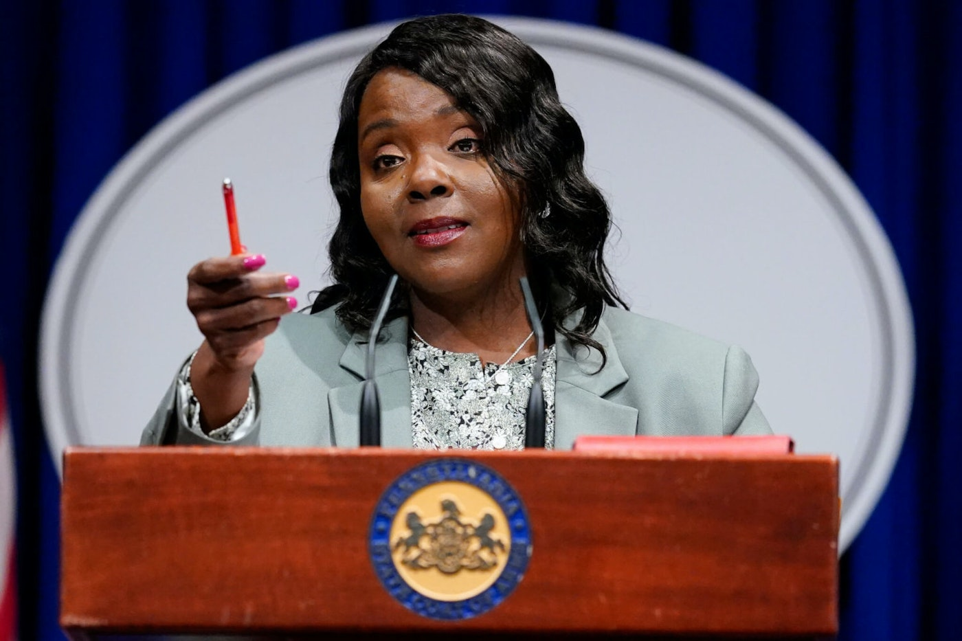 Acting Secretary of State Veronica Degraffenreid speaks with members of the media during a news conference at the Pennsylvania Capitol in Harrisburg on May 26, 2021. (AP Photo/Matt Rourke)