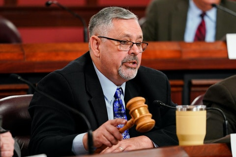 Chairman of the Senate Intergovernmental Operations Committee Sen. Cris Dush, R-Jefferson, speaks during a hearing at the Pennsylvania Capitol in Harrisburg, Pa., Wednesday, Sept. 15, 2021. (AP Photo/Matt Rourke)