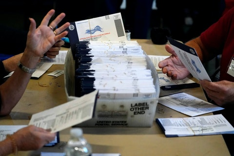 FILE - In this Wednesday, Nov. 4, 2020 file photo, Chester County election workers process mail-in and absentee ballots for the 2020 general election in the United States at West Chester University in West Chester. (AP Photo/Matt Slocum)