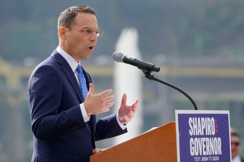 Pennsylvania's Democratic attorney general Josh Shapiro speaks to a crowd with the fountain at Point State Park behind him during his campaign launch address for Pennsylvania governor, Wednesday, Oct. 13, 2021, in Pittsburgh. (AP Photo/Keith Srakocic)