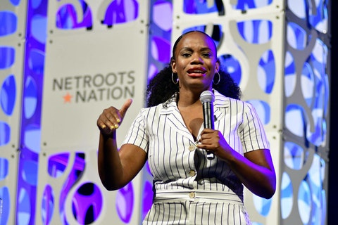 PA Rep. Summer Lee (D) speaks on stage during a keynote discussion of the Netroots Nation progressive grassroots convention in Philadelphia on July 13, 2019. (Photo by Bastiaan Slabbers/NurPhoto via Getty Images)