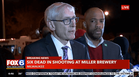 Gov. Tony Evers addresses reporters following the mass shooting Wednesday at MolsonCoors, previously Miller Brewery, in Milwaukee. (Photo from WITI-TV)