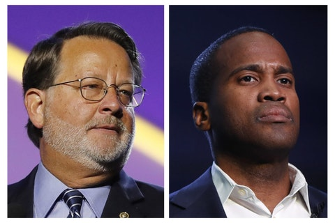 FILE - In this combination of 2018 and 2019 file photos are, from left, Democratic U.S. Sen. Gary Peters, D-Mich., and Republican U.S. Senate candidate John James. James says his campaign raised $4.8 million in the last three months. The fundraising total topped first-term Democratic Sen. Peters despite Peters raising $4 million — his biggest quarterly haul to date. (AP Photos, File)