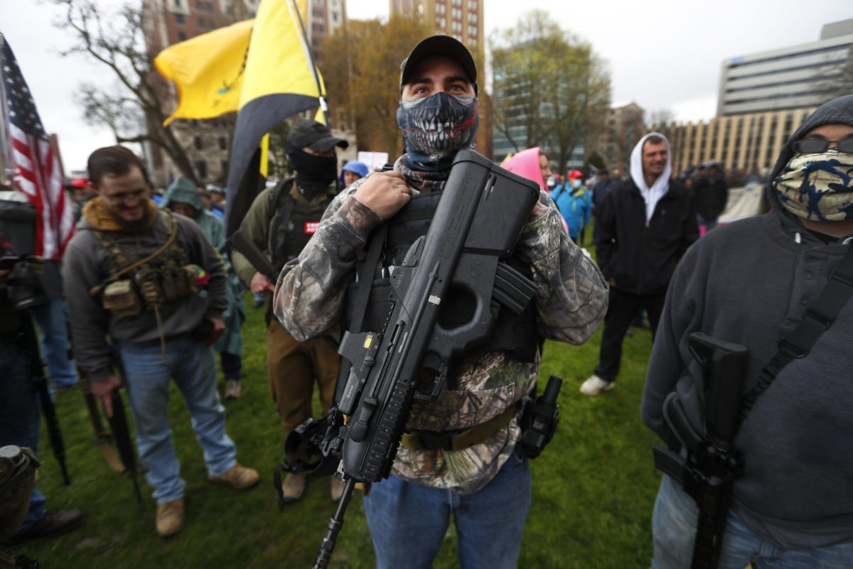 Armed protesters at the Michigan capitol.