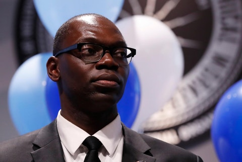 Garlin Gilchrist II, Democratic candidate for Michigan Lt. Gov., is seen during a campaign rally, Sunday, Nov. 4, 2018, in Detroit. (AP Photo/Carlos Osorio)