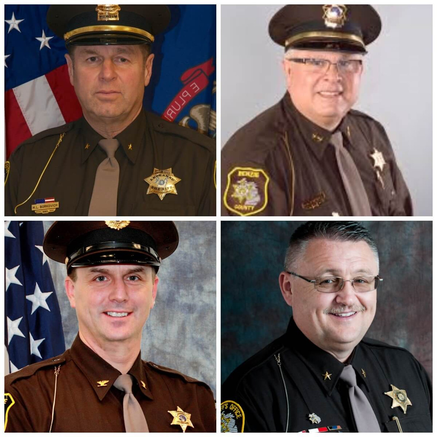Four Michigan sheriffs who are refusing to enforce Whitmer's stay-at-home orders.  Photo via Michigan Sheriff's Association.