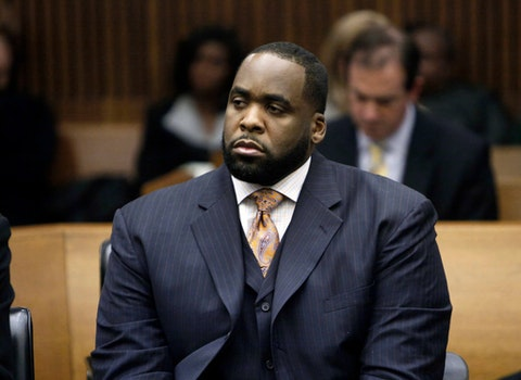 "FILE - In this Jan. 20, 2010, file photo, former Detroit Mayor Kwame Kilpatrick attends a court hearing in Detroit. Kilpatrick, who has served seven years of a 28-year sentence for corruption, has been turned down for home confinement during the coronavirus pandemic and won't be leaving prison early, the government said Tuesday, May 26, 2020. The U.S. Bureau of Prisons said it ""reviewed and denied"" Kilpatrick for the early release program. He remains at the federal prison in Oakdale, La. (AP Photo/Paul Sancya, File)"