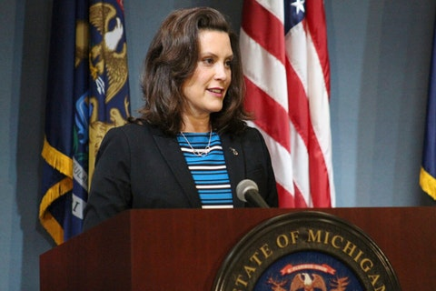 Gov. Gretchen Whitmer speaks during a news conference Thursday, May 28, 2020, in Lansing, Mich. Whitmer urged the federal government to give the state more flexibility to spend coronavirus rescue aid to fill budget shortfalls and to pass another round of relief funding. (Michigan Executive Office of the Governor via AP)