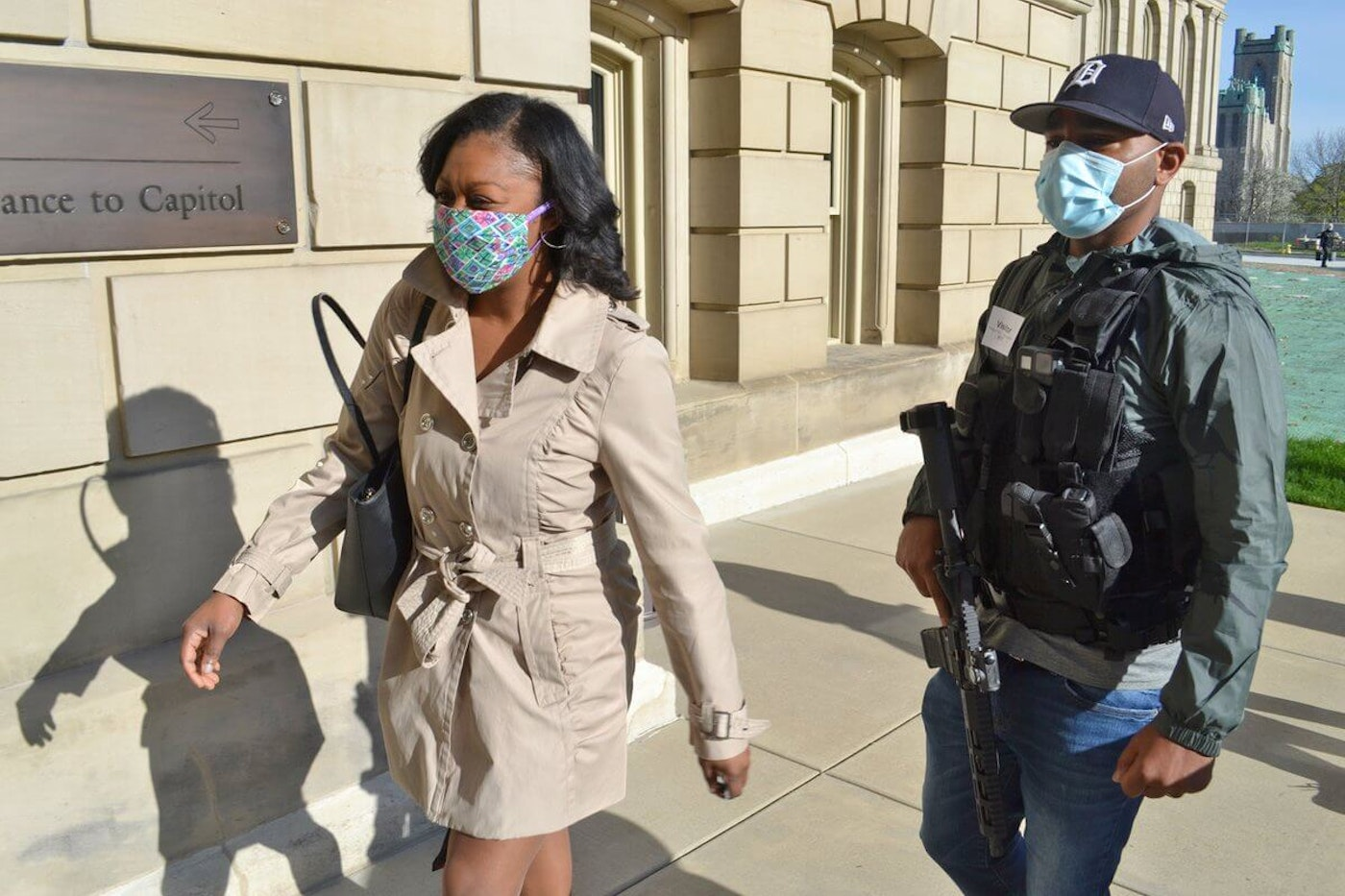 Rep. Sarah Anthony is being escorted to the state capitol by an armed militia. Photo courtesy of Twitter
