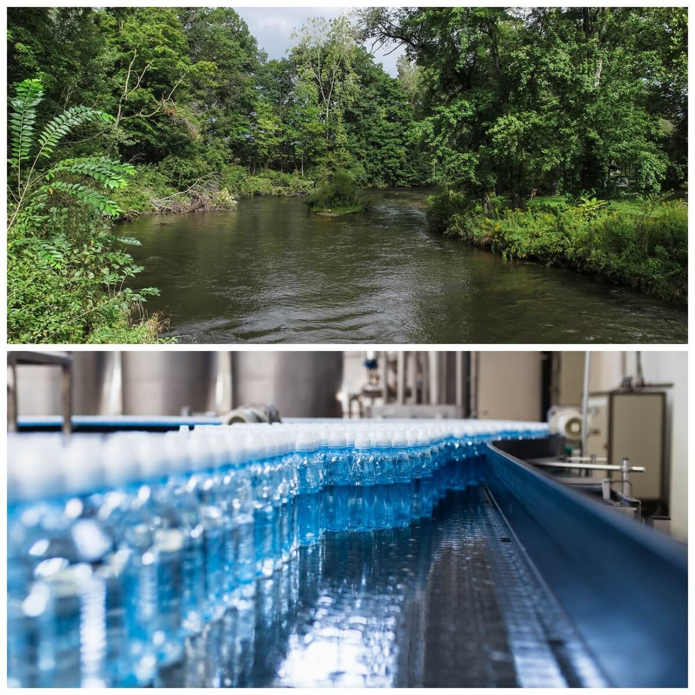 A rural Michigan river and a bottling plant. These rivers are in danger when companies like Nestle tap the aquifers at their headwaters.  Photos courtesy Tim Kiser under Wikimedia Commons - Own work, CC BY-SA 3.0 and via Shutterstock respectively.