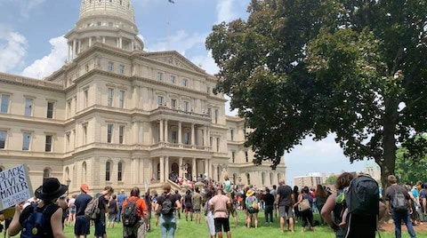 Protesters gather around Michigan's Capitol Building on Wednesday, June 10, 2020. (Photo courtesy of Molly Griffin)