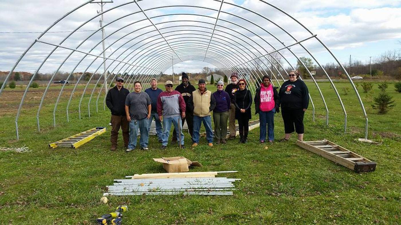MIFFS Saginaw Chippewa Tribe 7th Generation Farm Hoophouse Build. (Photo via Facebook)