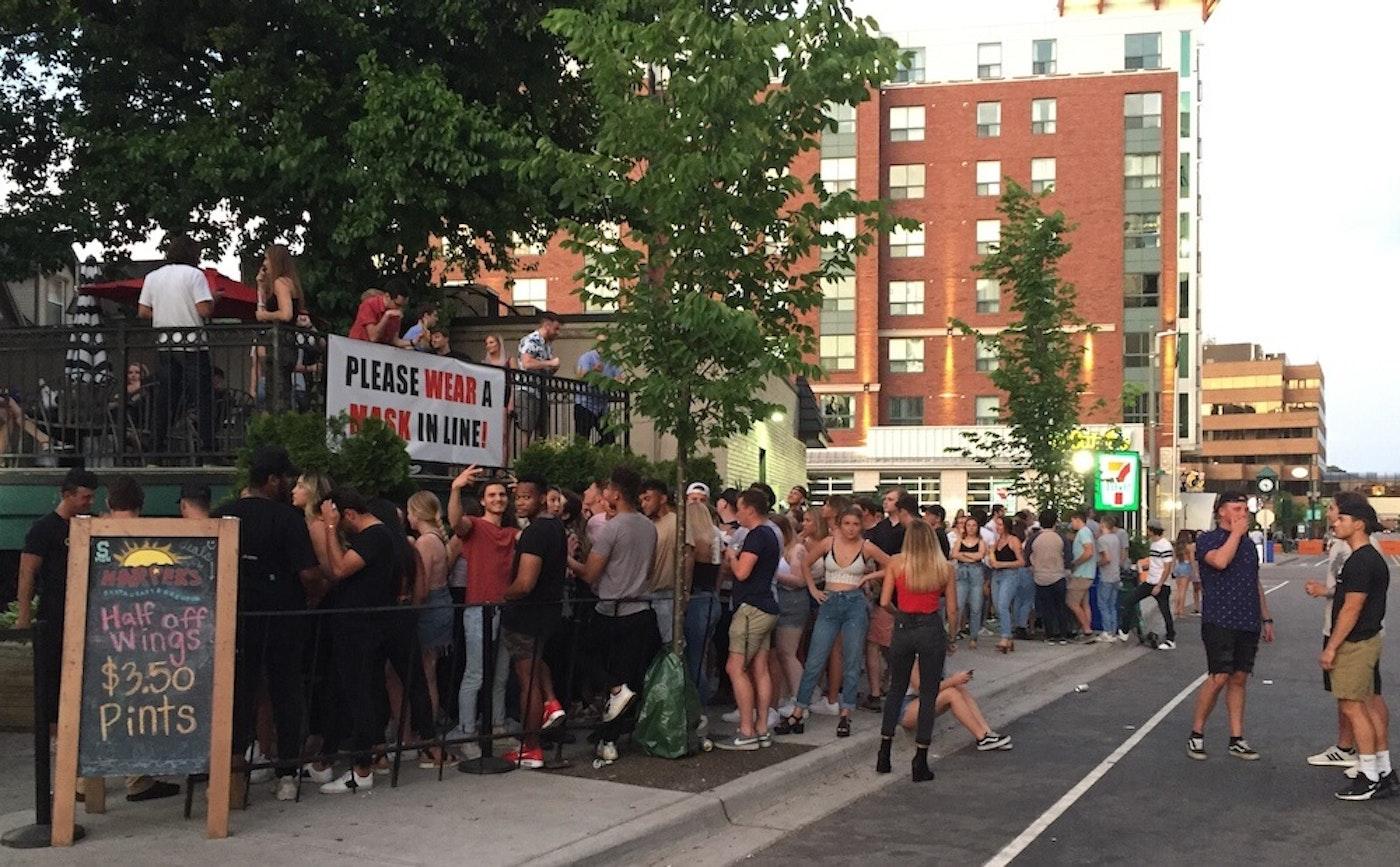 The line outside Harper's Restaurant and Brewpub. Photo via East Lansing Info