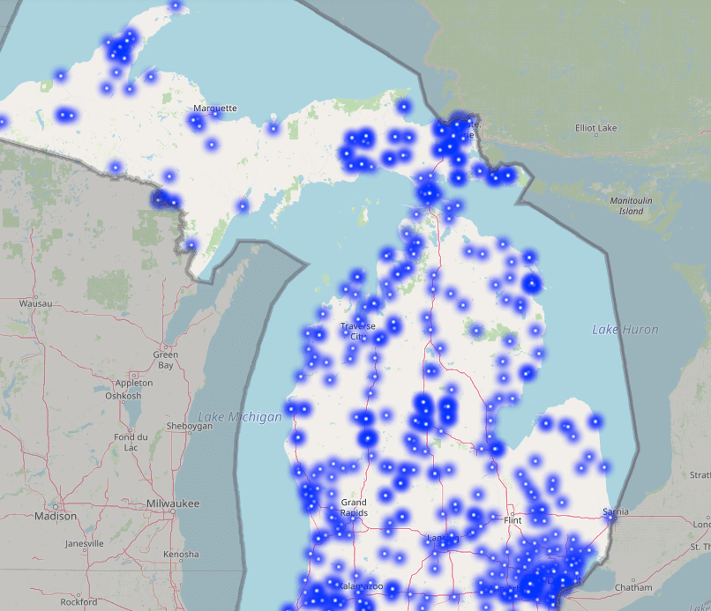 The State of Michigan's new online map of free Wi-Fi hotspots (Image via Connected Nation Michigan)