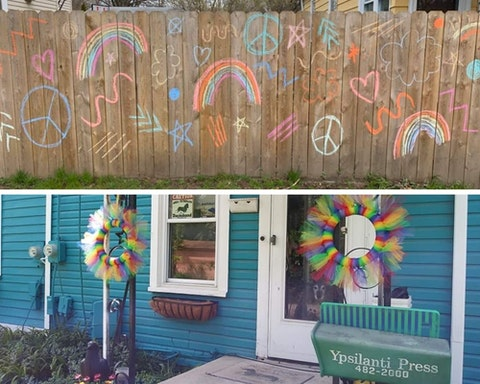 Top: Both young and old Ypsilantians used chalk to collaborate on this display for Pride. (Photo courtesy of Matt Hamilton) Bottom: A furry friend takes in the rainbow decor. (Photo courtesy of Wendy Ws)