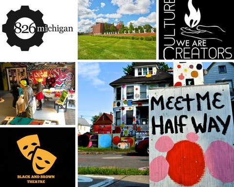 Arts and Creative Community Assistance Fund Grantees include (clockwise from top left): 826michigan, Holocaust Memorial Center, We Are Culture Creators, The Heidelberg Project, Black and Brown Theater, and The Neutral Zone. (Photos via Facebook)