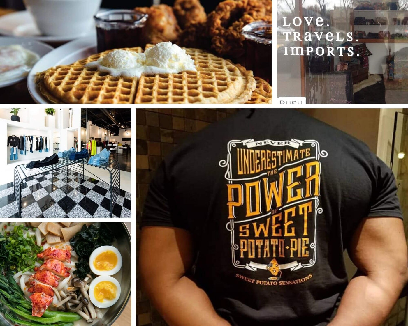 Clockwise from top left: Kuzzo's Chicken & Waffles; Love. Travels. Imports.; Sweet Potato Sensations; Ima Noodles; Détroit Is The New Black. (Photos via Facebook)
