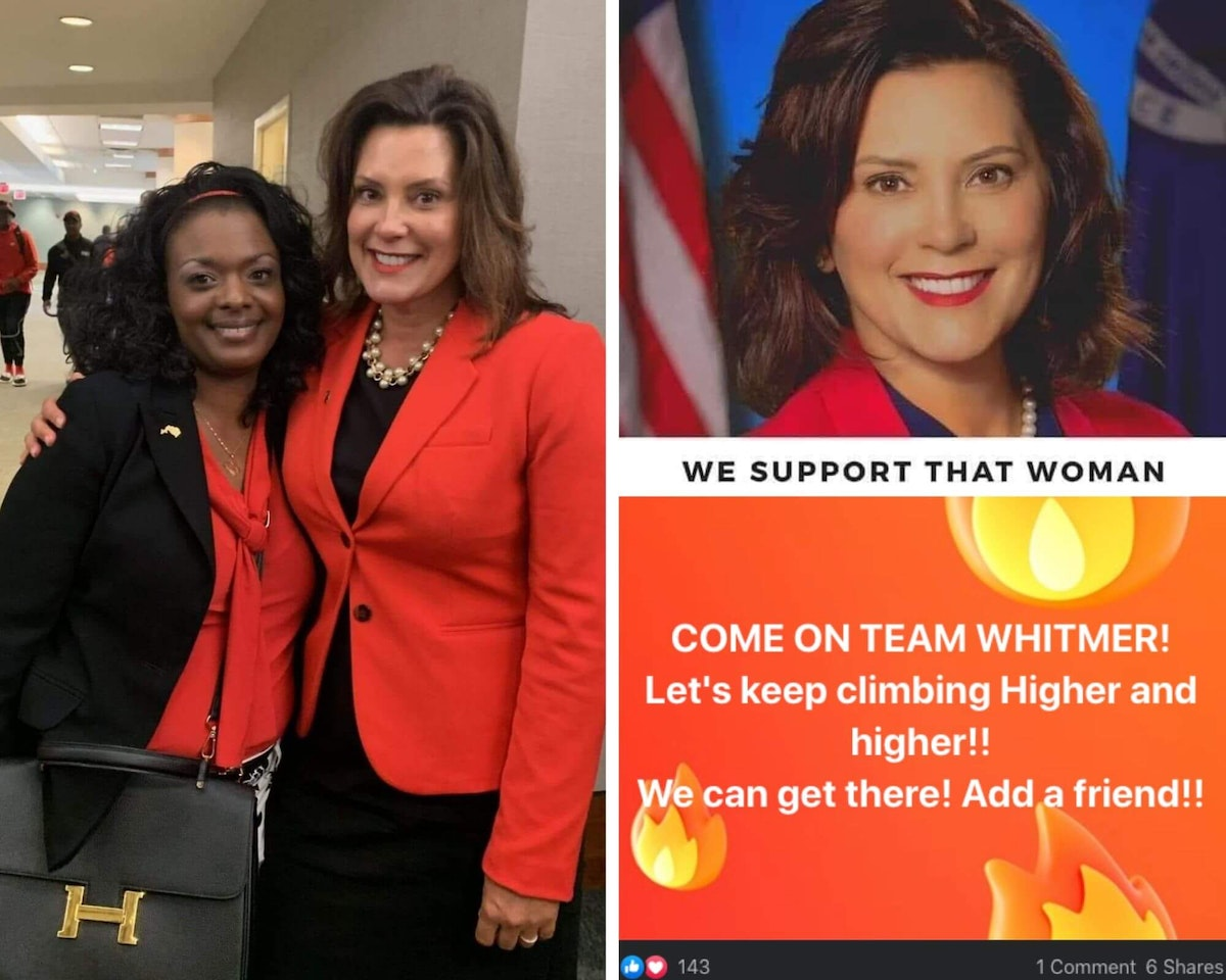 Left: Tashawna Gill and Gov. Gretchen Whitmer. Top right: A post from the Women for Whitmer Facebook group featuring Gov. Whitmer. Lower right: A post from the Women for Whitmer Facebook group by Tashawna Gill.