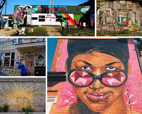 From top left: Lincoln Street Art Park (Photo via Facebook); Dabls Mbad African Bead Museum (Photo via francis mckee on Flickr); Desiree Kelly's Aretha Franklin mural (Photo courtesy of Desiree Kelly); a mural in Detroit's Mexicantown (Photo via Tara on Flickr); A scene from The Heidelberg Project (Photo via Nic Redhead on Flickr)