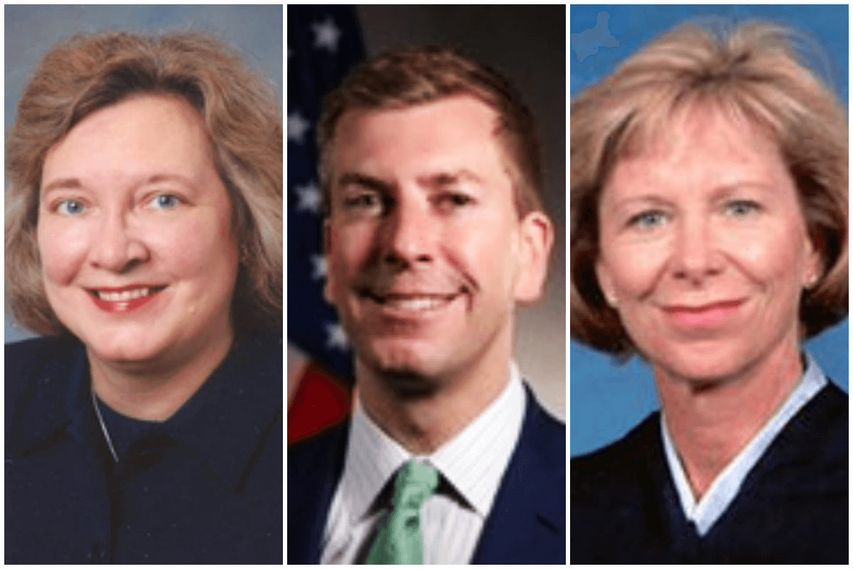 Judges Julia Smith Gibbons (appointed by Bush), Chad Readler (appointed by Trump), and   Deborah Cook (appointed by Bush). Photos via Wikimedia Commons