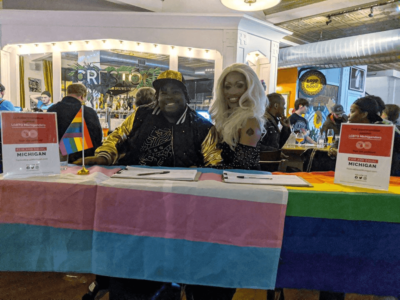 One of the last signature drives before the stay-at-home order went into effect, with Grand Rapids Pride Center. Photo courtesy Fair and Equal Michigan.