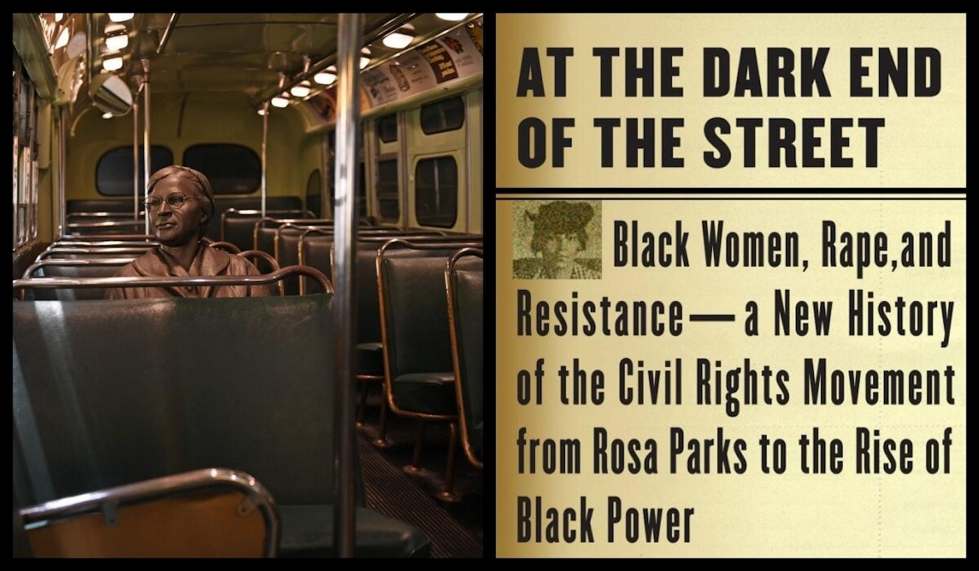 Photos: Rosa Parks sculpture at the National Civil Rights Museum (L), McGuire's book jacket Photos via Facebook