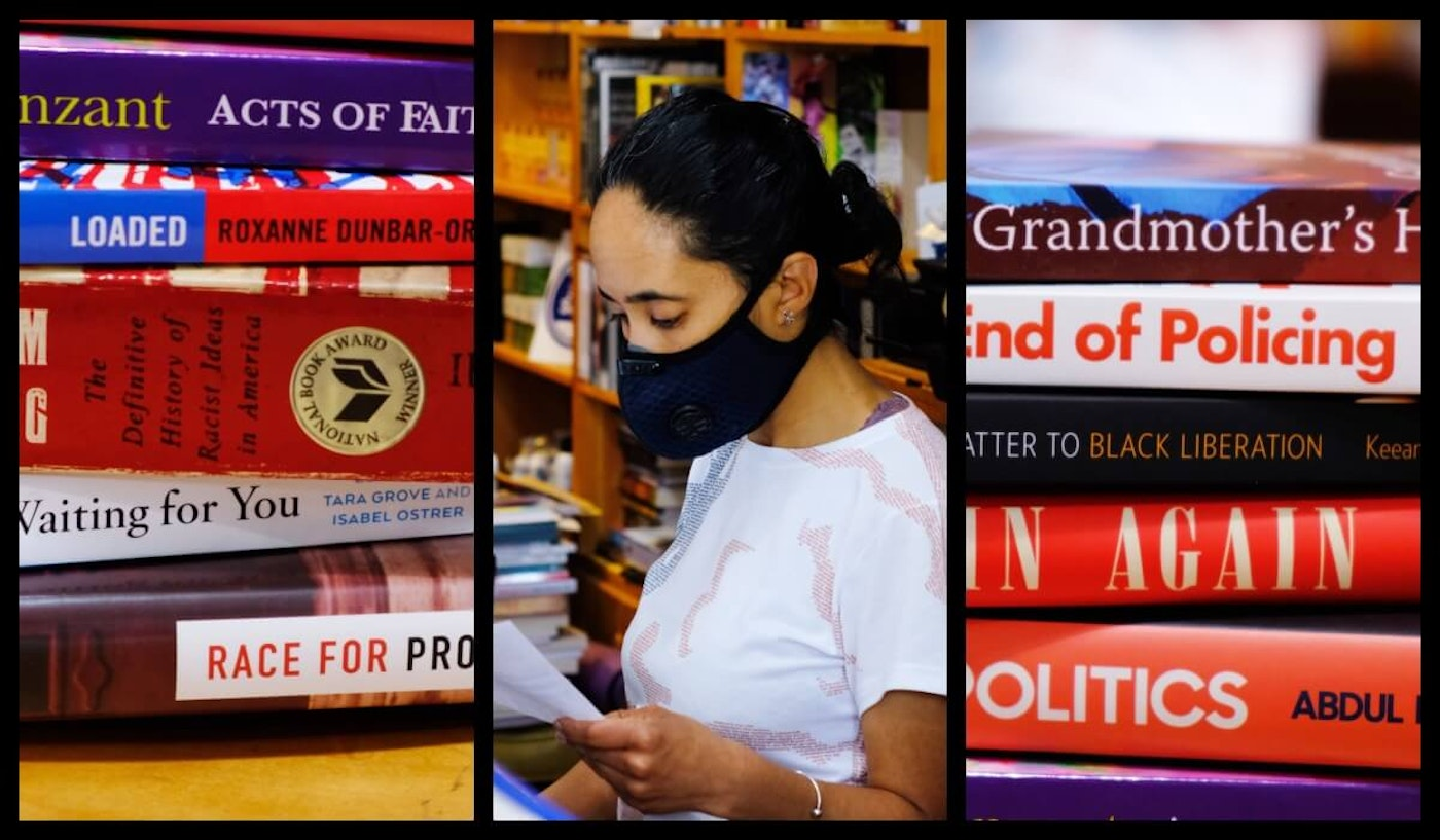 Source Booksellers co-owner Alyson Jones Turner hard at work even during a pandemic. Photos by Adam Fox-Long.