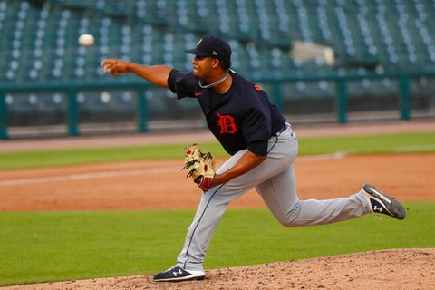 Detroit Tigers pitcher Rony Garcia throws during an intrasquad baseball game in Detroit, Wednesday, July 15, 2020. (AP Photo/Paul Sancya)