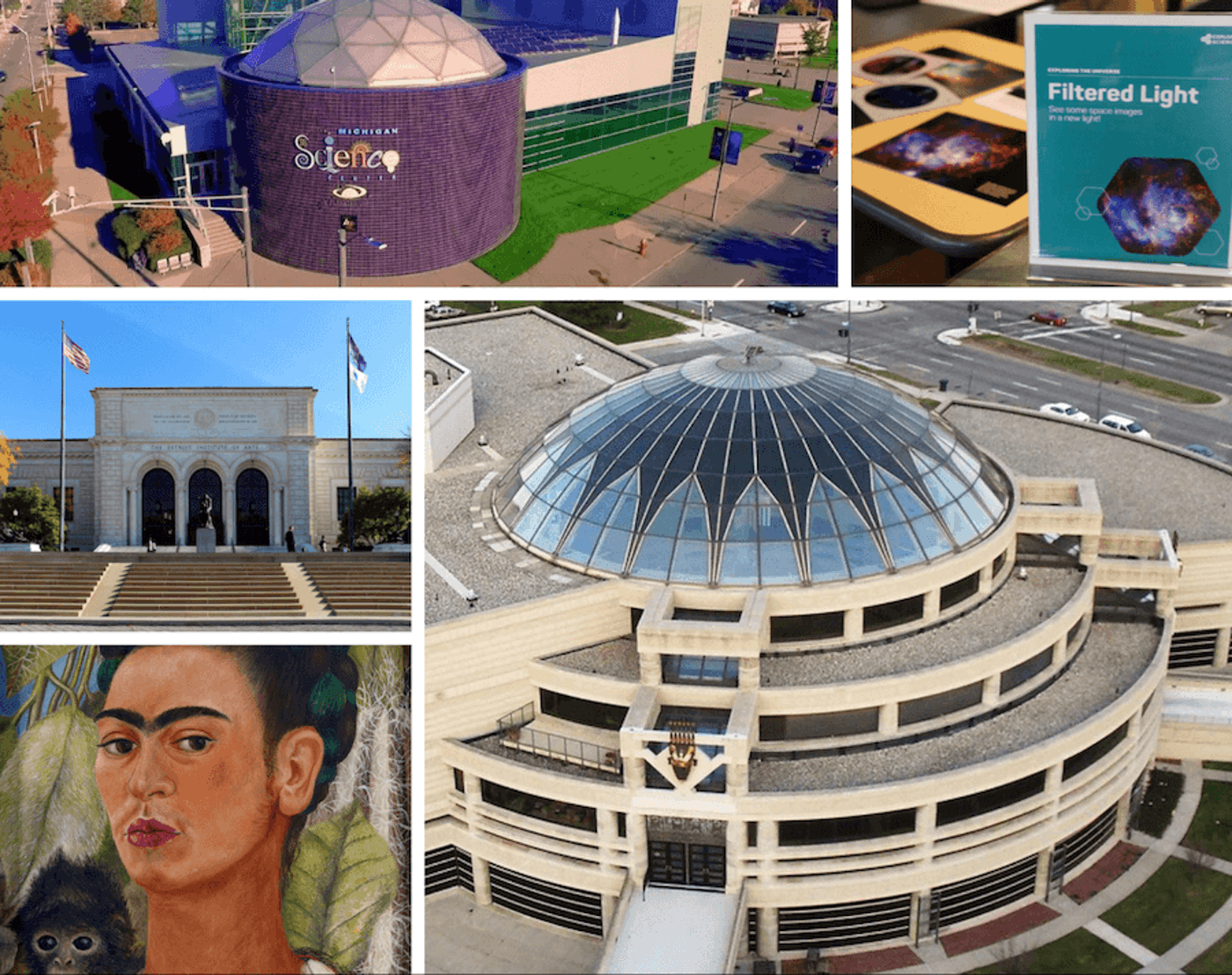 """Clockwise from top left: Michigan Science Center (photo via Wikimedia Commons); Explore the universe at the Michigan Science Center (Photo via Facebook); The Charles H. Wright Museum of African American History (Photo by Juan N Only via Flickr); """"Self-Portrait with Monkey"""" by Frida Kahlo (1938) is on loan to the DIA from the Albright-Knox Art Gallery in Buffalo, N.Y. for """"Guests of Honor: Frida Kahlo and Salvador Dalí."""" (Image via Facebook); Visitors will be able to walk the steps and enter the Detroit Institute of Arts this Friday. (Photo via Wikimedia Commons)"""