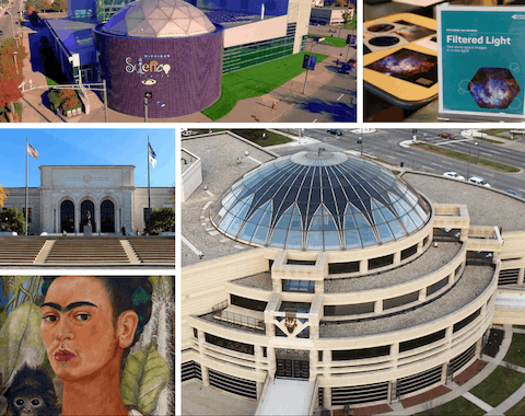 "Clockwise from top left: Michigan Science Center (photo via Wikimedia Commons); Explore the universe at the Michigan Science Center (Photo via Facebook); The Charles H. Wright Museum of African American History (Photo by Juan N Only via Flickr); ""Self-Portrait with Monkey"" by Frida Kahlo (1938) is on loan to the DIA from the Albright-Knox Art Gallery in Buffalo, N.Y. for ""Guests of Honor: Frida Kahlo and Salvador Dalí."" (Image via Facebook); Visitors will be able to walk the steps and enter the Detroit Institute of Arts this Friday. (Photo via Wikimedia Commons)"