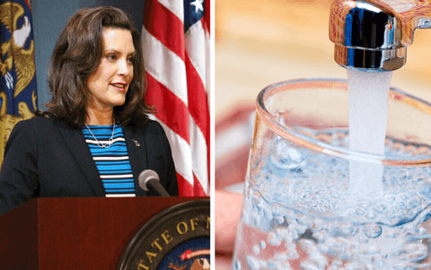 Left: In this photo provided by the Michigan Executive Office of the Governor, Gov. Gretchen Whitmer speaks during a news conference Thursday, May 28, 2020, in Lansing, MI. (Michigan Executive Office of the Governor via AP) Right: Many Michigan families are struggling to pay bills for essential utilities like water and electricity during the coronavirus pandemic. (Photo via Shutterstock)
