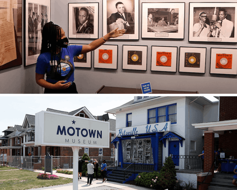 Top: Motown Museum tour guide Jamia Henry points out notable Motown legends during a tour of the museum. (AP Photo/Carlos Osorio) Bottom: Folks can't wait to get back inside Hitsville, U.S.A. Here's the exterior view of the Motown Museum is seen, Wednesday, July 15, 2020, in Detroit. (AP Photo/Carlos Osorio)