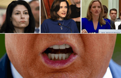 President Trump has targeted Michigan's trifecta of female leaders ahead of the 2020 presidential election, picking fights over everything from coronavirus response to voting rights. Clockwise from top left: Attorney General Dana Nessel (AP Photo/Paul Sancya File); Gov. Gretchen Whitmer (Photo via Gov. Gretchen Whitmer's Office); Secretary of State Jocelyn Benson (Photo via Facebook); President Donald Trump (AP Photo/Patrick Semansky)