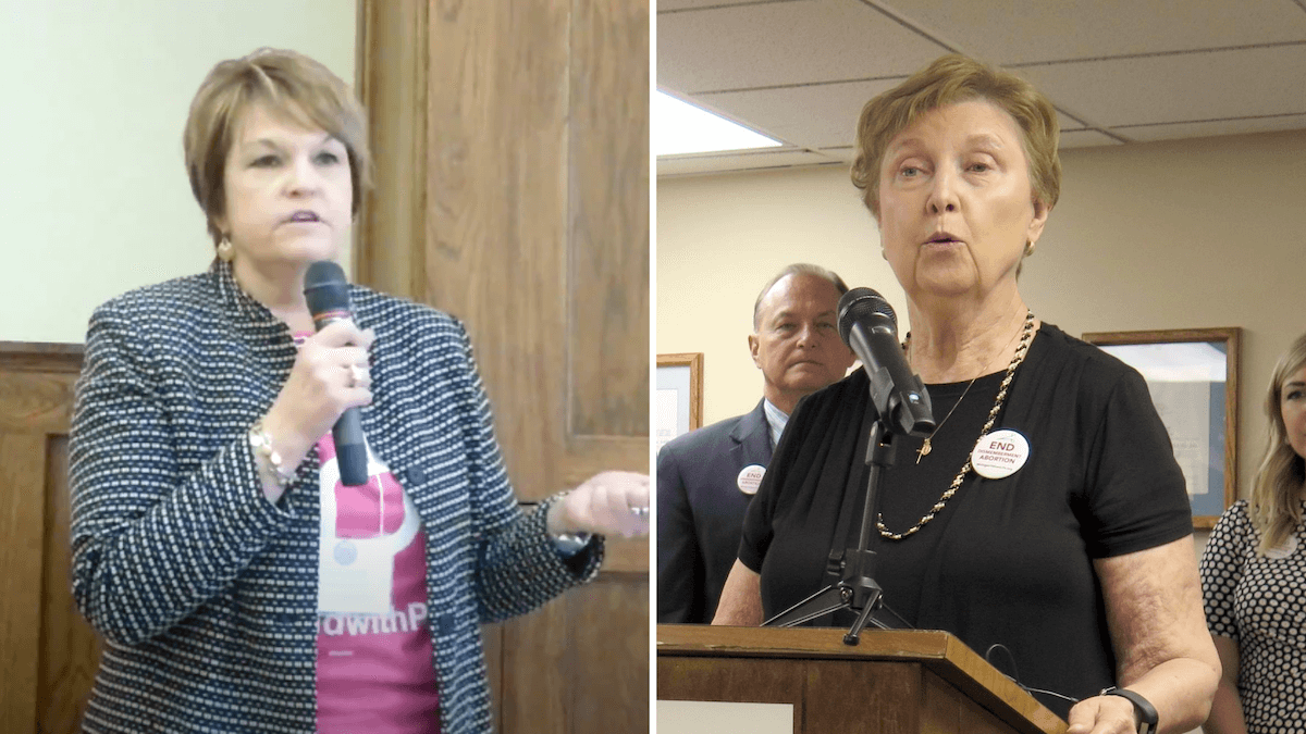 """President and CEO of Planned Parenthood of Michigan Lori Carpentier (left) called it """"unsurprising"""" that Right to Life of Michigan failed to collect signatures in proportion to the number of Michigan voters who actually agree with their agenda to ban dilation and evacuation procedures. Indeed, Right to Life of Michigan President Barbara Listing (right) said in a statement that the increased minimum number of signatures required to be certified was the group's biggest hurdle. (From left: Screenshot via YouTube; AP Photo/David Eggert, File)"""
